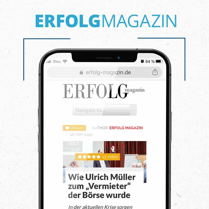 """Erfolg Magazin - Wie Ulrich Müller zum """"Vermieter"""" der Börse wurde"""